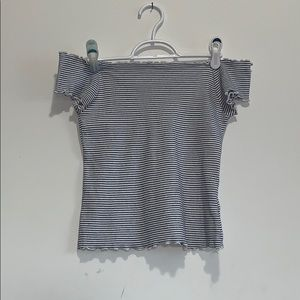 Aeropostale White Striped Off the Shoulder Top M